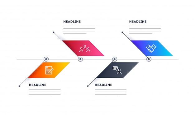 Elementos coloridos infográfico com quatro diferentes etapas modelo