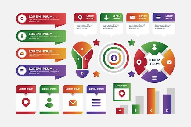 Elementos coloridos infográfico gradiente