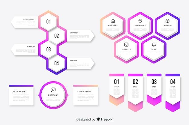 Elementos coloridos infográfico timeline