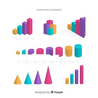 Elementos coloridos infográficos isométricos