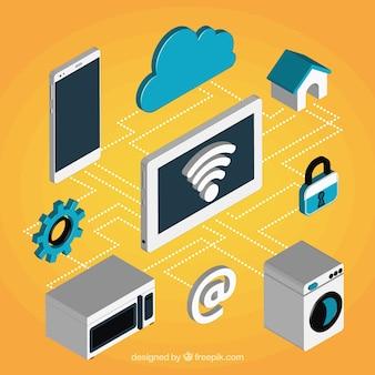 Elementos com ligação wifi em estilo isométrico