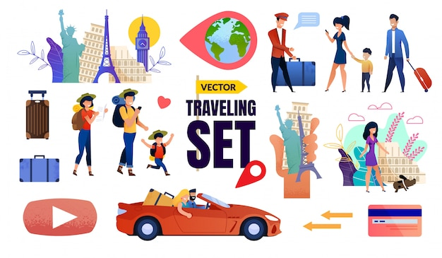 Elementos conjunto de viagem com a família feliz turistas