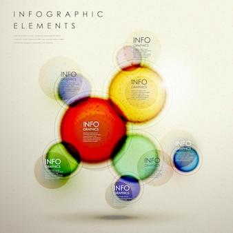 Elementos criativos de círculo colorido em modelo infográfico