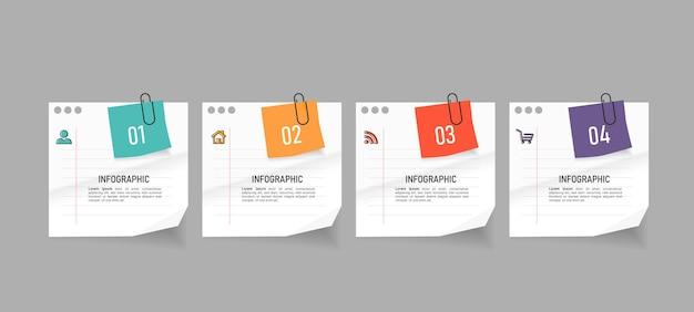 Elementos criativos de infográfico com estilo de papel de nota