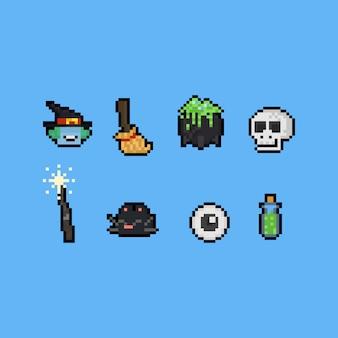 Elementos da bruxa dos desenhos animados da arte do pixel. 8 bits dia das bruxas.