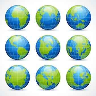 Elementos da cenografia dos ícones da terra do globo para o projeto do infographics.