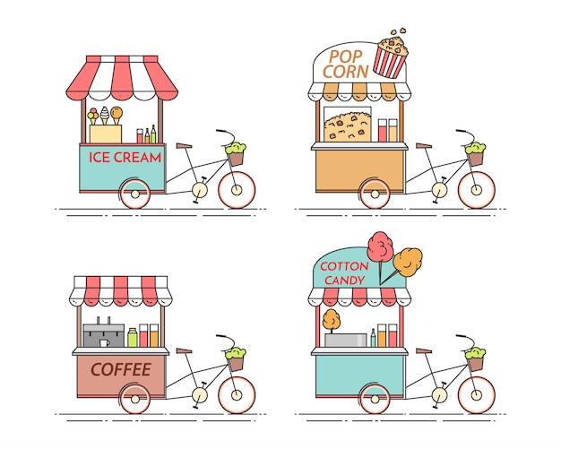 Elementos da cidade de café, pipoca, sorvete, algodão doce bicicletas. carrinho sobre rodas. comida e bebida quiosque. ilustração vetorial. arte de linha plana. elementos para a construção, habitação, mercado imobiliário