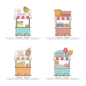 Elementos da cidade de café, pipoca, sorvete, caminhões de algodão doce.