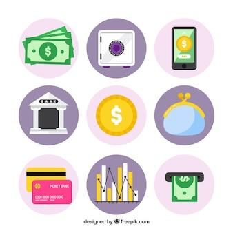 Elementos da coleção economia em design plano