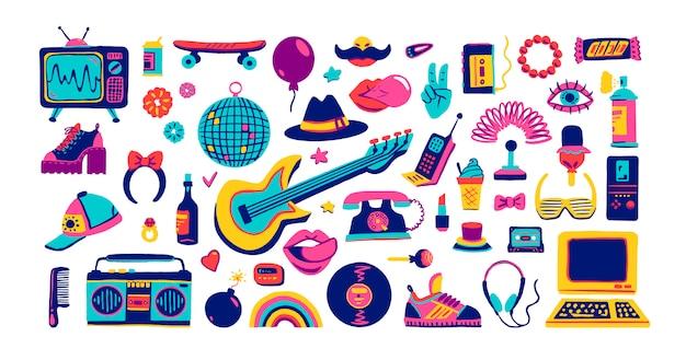 Elementos da coleção retrô ícones no estilo moderno dos desenhos animados desenhados à mão de mercadorias dos anos 80-90