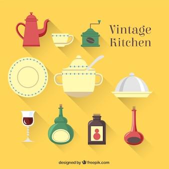 Elementos da cozinha do vintage