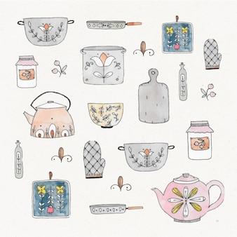 Elementos da cozinha pintados à mão