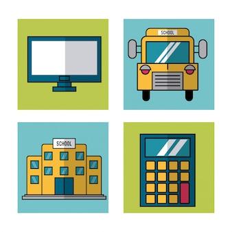 Elementos da escola ônibus e computador e calculadora e escola