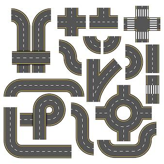 Elementos da estrada. coleção de elementos de rodovia conectável.