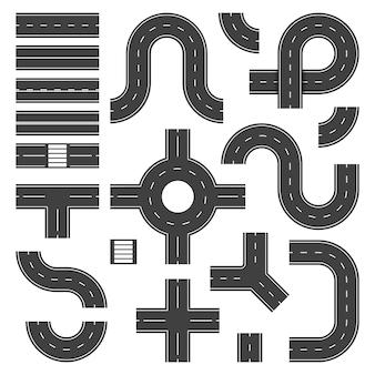 Elementos da estrada vista superior. objetos de junção de rua e estradas, estrada de asfalto da cidade. trilhas de encruzilhada de tráfego isoladas