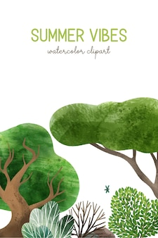 Elementos da floresta em aquarela ilustrações desenhadas à mão