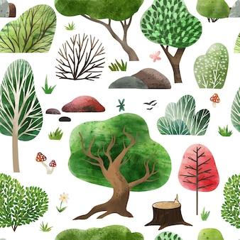 Elementos da floresta em aquarela padrão desenhado à mão