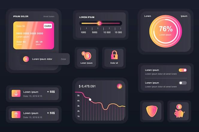 Elementos da gui para aplicativo móvel bancário