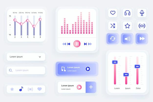 Elementos da gui para interface do usuário do aplicativo móvel do music player, kit de ferramentas ux