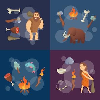 Elementos da idade da pedra. ilustração em vetor homens das cavernas dos desenhos animados