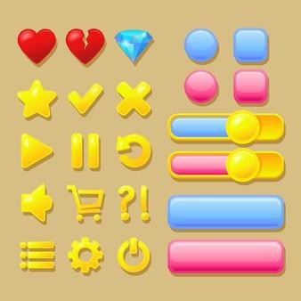 Elementos da interface do usuário, botões rosa e azuis, ícones de coração, diamante, ouro.