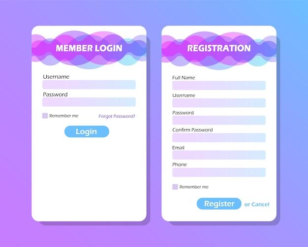 Elementos da interface do usuário. formulário de login e formulário de registro.