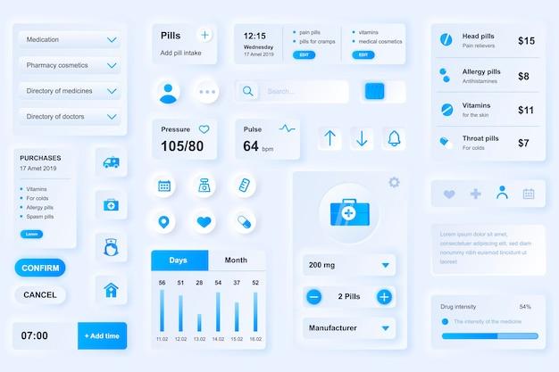 Elementos da interface do usuário para aplicativo médico móvel