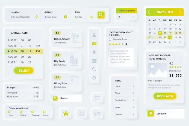 Elementos da interface do usuário para aplicativo móvel de agência de viagens