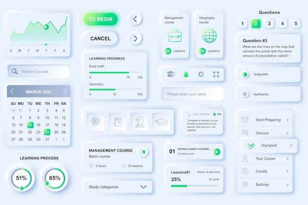 Elementos da interface do usuário para aplicativo móvel de aprendizagem à distância