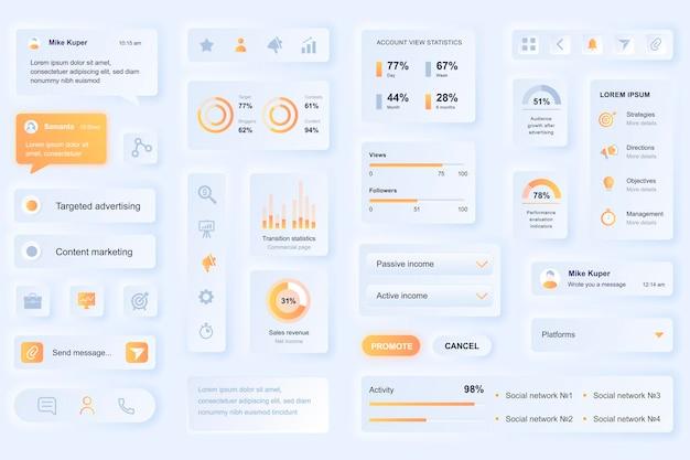 Elementos da interface do usuário para aplicativo móvel de marketing de mídia social