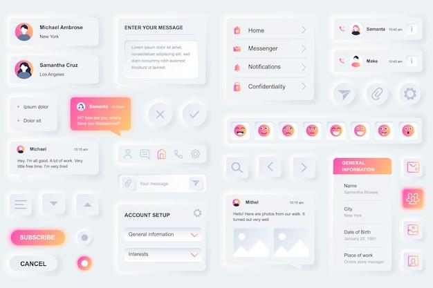 Elementos da interface do usuário para aplicativo móvel de rede social