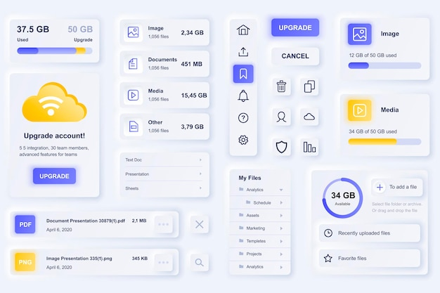 Elementos da interface do usuário para aplicativo móvel de tecnologia em nuvem