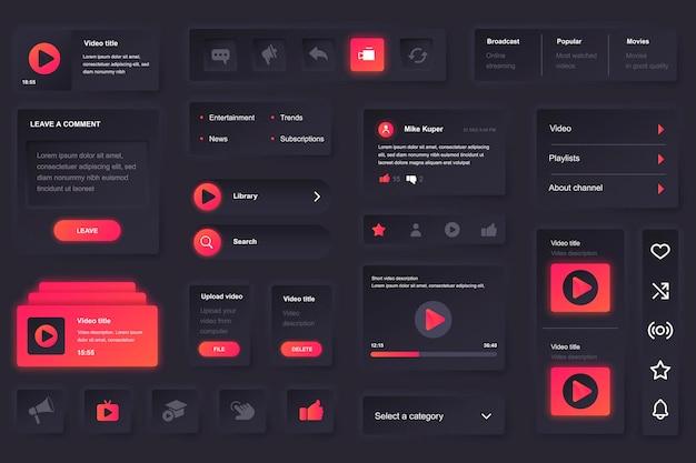 Elementos da interface do usuário para aplicativo móvel de tubo de vídeo