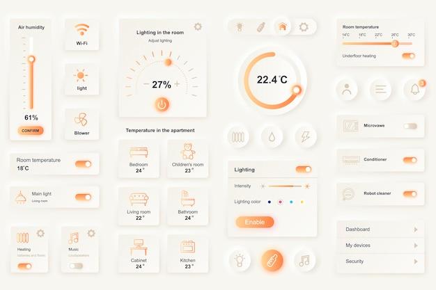 Elementos da interface do usuário para aplicativo móvel doméstico inteligente