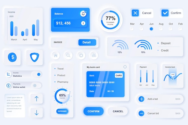 Elementos da interface do usuário para aplicativos móveis de finanças