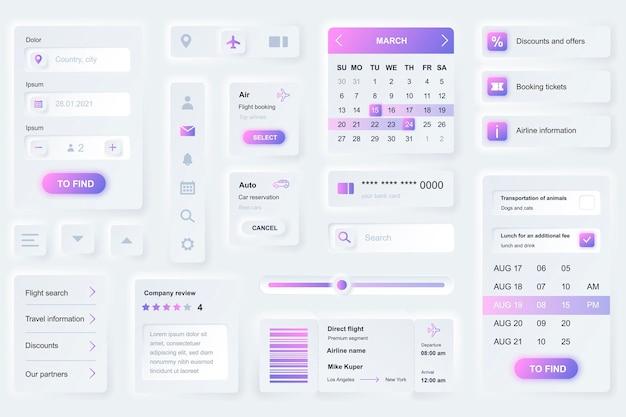 Elementos da interface do usuário para reservar viagens em aplicativos móveis