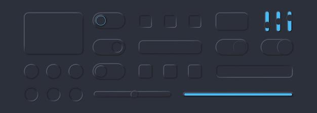 Elementos da interface do usuário para um aplicativo móvel em estilo neomórfico