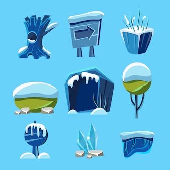 Elementos da natureza do jogo de inverno dos desenhos animados