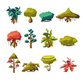 Elementos da natureza dos desenhos animados, objetos vetoriais