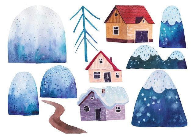 Elementos da paisagem, clipart, montanhas, estrada, casas ilustração em aquarela sobre fundo branco