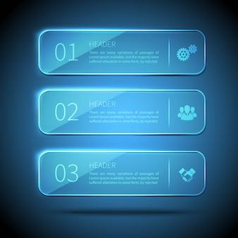 Elementos da web 3 placas de vidro para infográfico sobre fundo azul