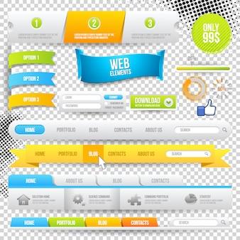 Elementos da web, botões e rótulos. navegação no site.