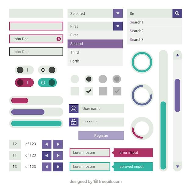 Elementos da web e botões em design plano