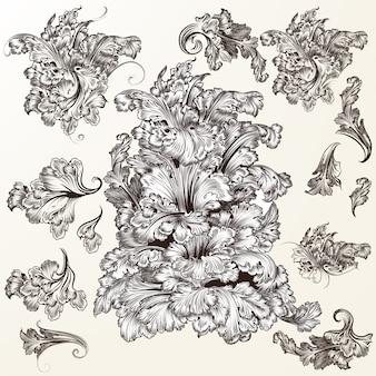 Elementos das folhas desenhadas à mão