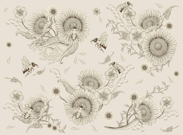 Elementos de abelhas e flores, estilo retrô de sombreamento desenhado à mão, fundo bege