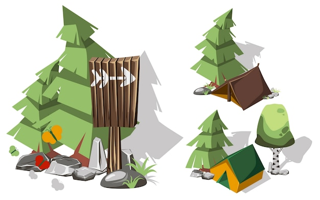 Elementos de acampamento 3d isométricos para o projeto da paisagem.