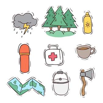 Elementos de acampamento de verão