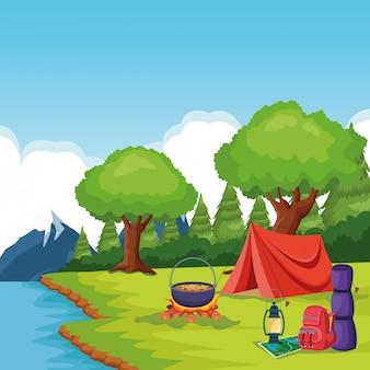Elementos de acampamento em uma paisagem rural