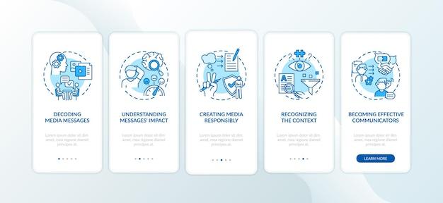 Elementos de alfabetização midiática que integram a tela da página do aplicativo móvel com conceitos