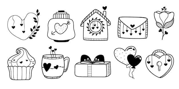 Elementos de amor desenhados à mão, isolados no fundo branco